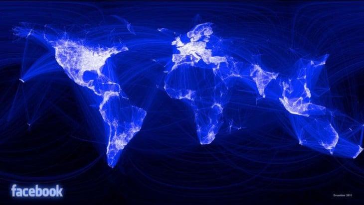 el mundo según la conectividad de facebook