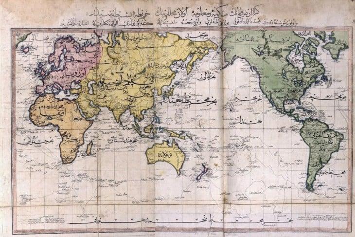 visión del mapa mundial visto por el imperio otoman