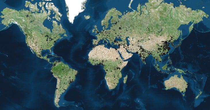 Ciudades en el mundo con mas de 100 mil habitantes