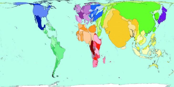 así se verian los paises si se acomodara la tierra respecto a la cantidad de su población mundial