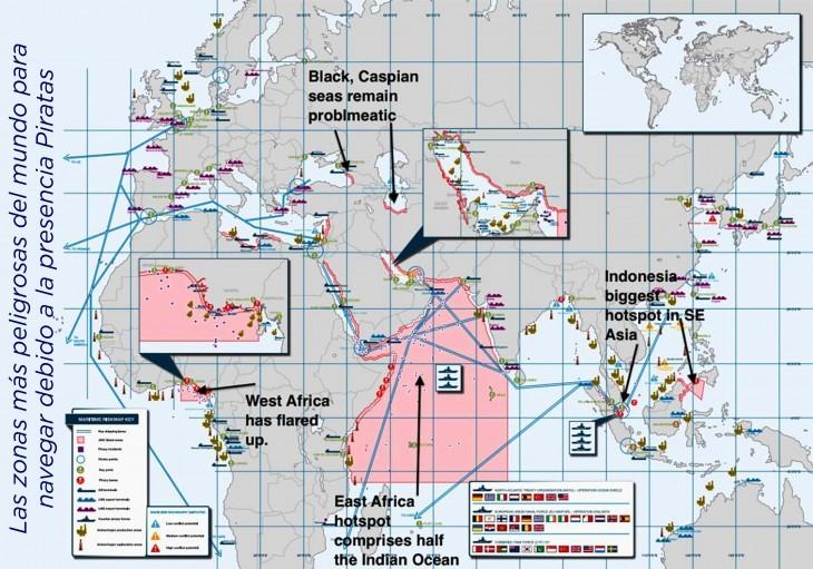 zonas más peligrosas para navegar por presencia de piratas