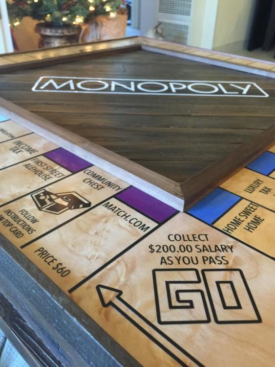 foto con los tableros especiales en el tablero de monopoly