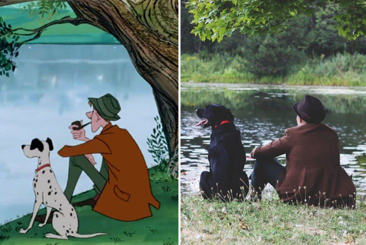 recrea escena de pongo en el lago