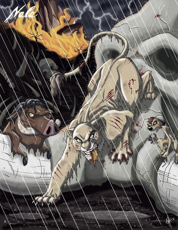 la leona de disney en su modo maléfico