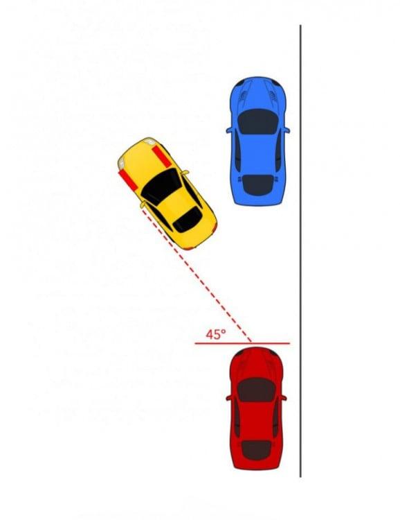 Imagen que muestra como poner las llantas rectas y retroceder para estacionarse entre dos carros