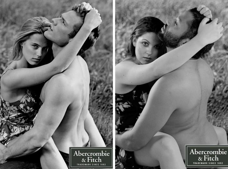 Comparación de la publicidad Abercrombie de unos modelos con personas comunes