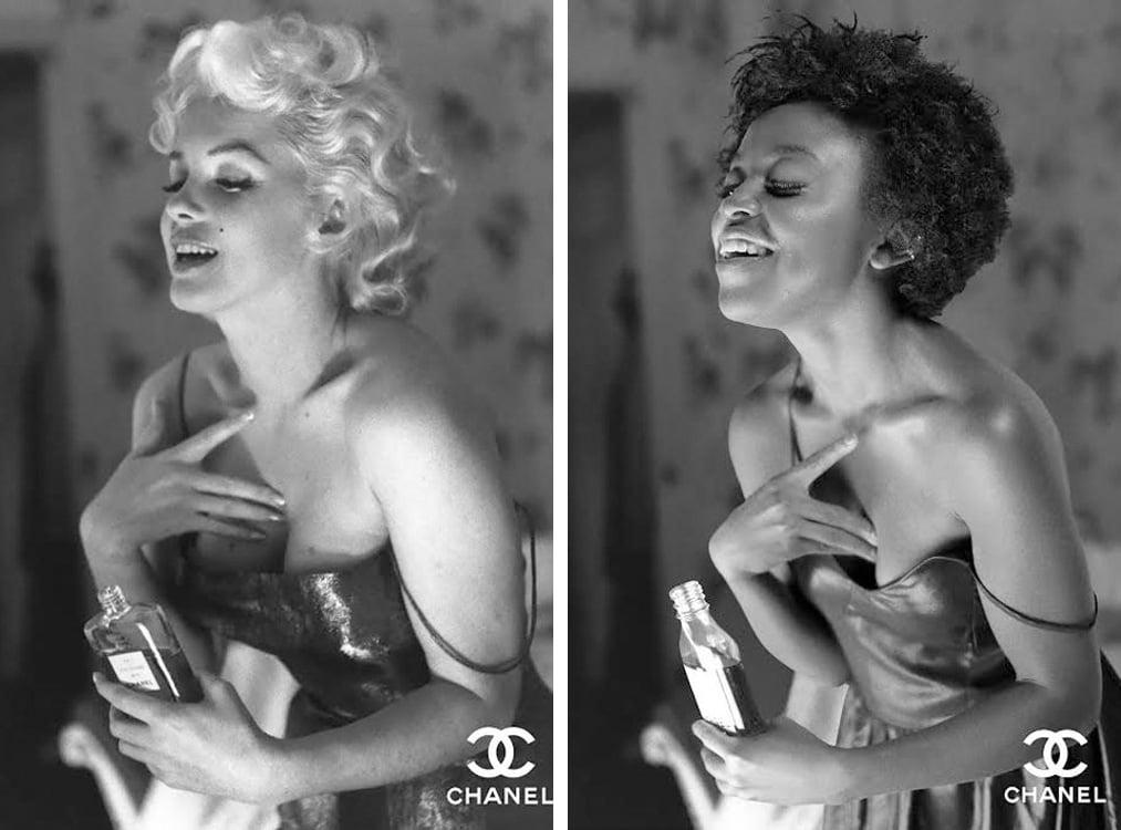 Comparación de la publicidad de Chanel no. 5 de Marilyn Monroe con una chica común