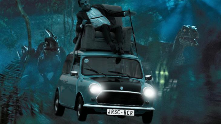 Photoshop de Mr. Bean siendo perseguido por algunos tiranosaurios rex