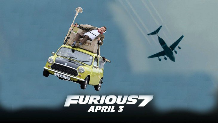 Photoshop de Mr. Bean en su carro sobre un cartel de Furious 7