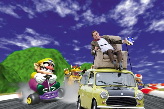 Photoshop de Mr. Bean en su carro en una escena de Mario Kart 64