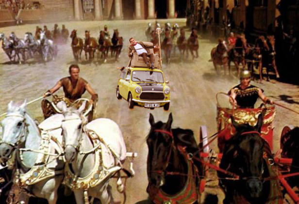 Photoshop de Mr. Bean en su carro en una escena de la película de Ben-Hur