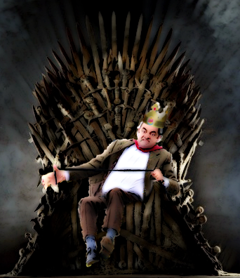Photoshop de Mr. Bean en su carro sobre el trono de la serie Game Of Thrones