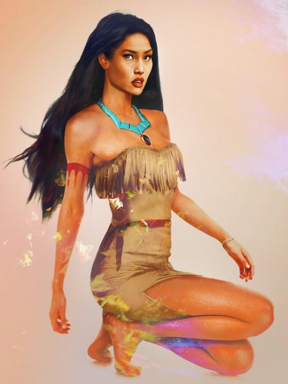 Retrato de Pocahontas en la vida real