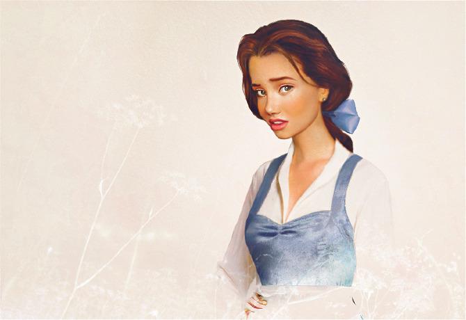 Retrato de Bella la protagonista de La bella y la bestia