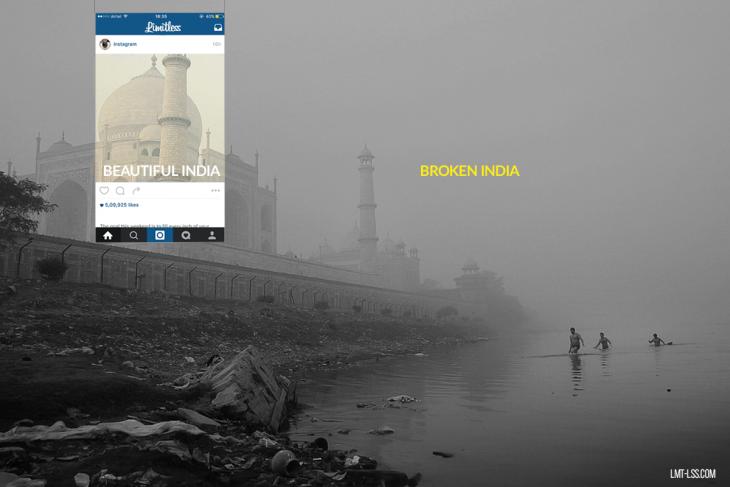 Fotografías detrás de instagram del Taj Mahal en India