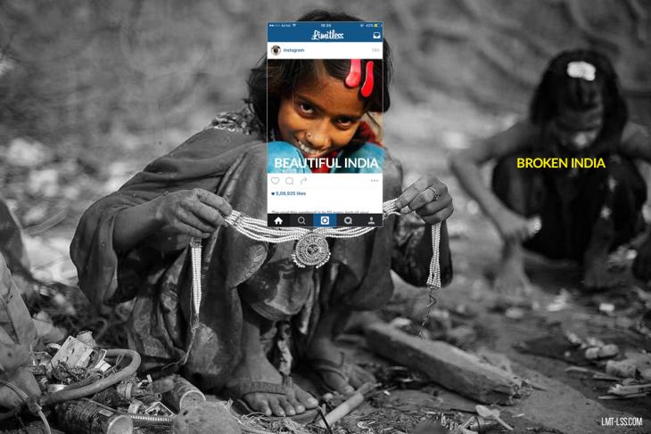 imagen detrás de Instagram que muestra el trabajo infantil en India