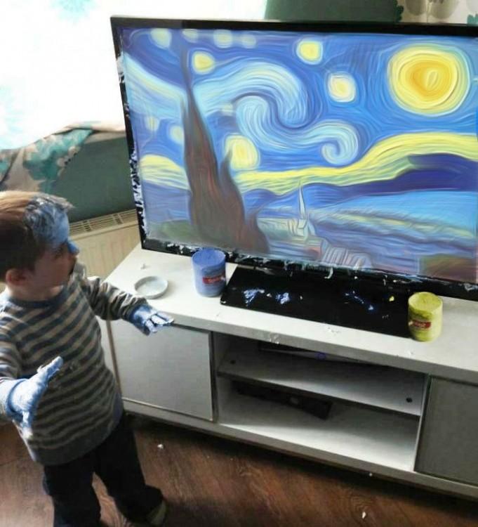 niño crea obra de arte photoshop