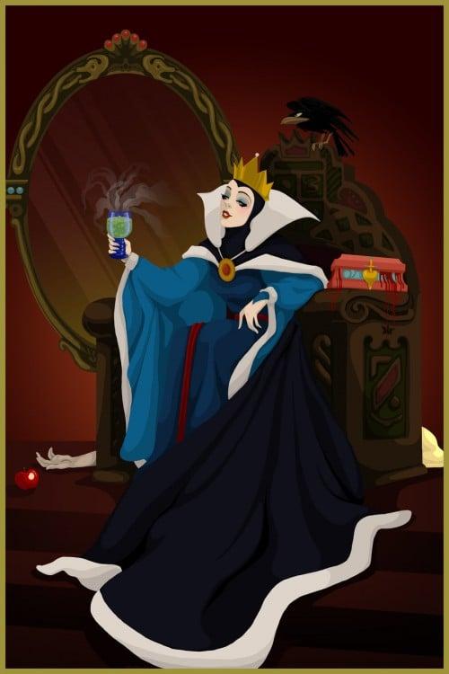 Ilustración del final feliz de la malvada madrastra de Blanca Nieves