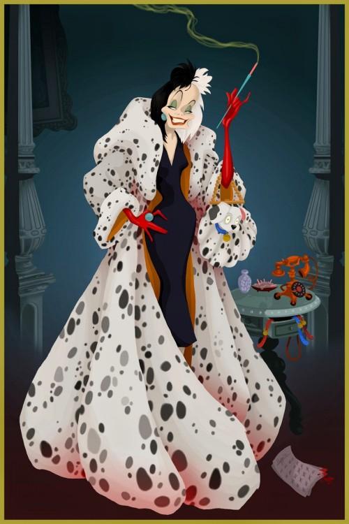 Ilustración de Cruella de Vil por Justin Turrentine en su serie final feliz