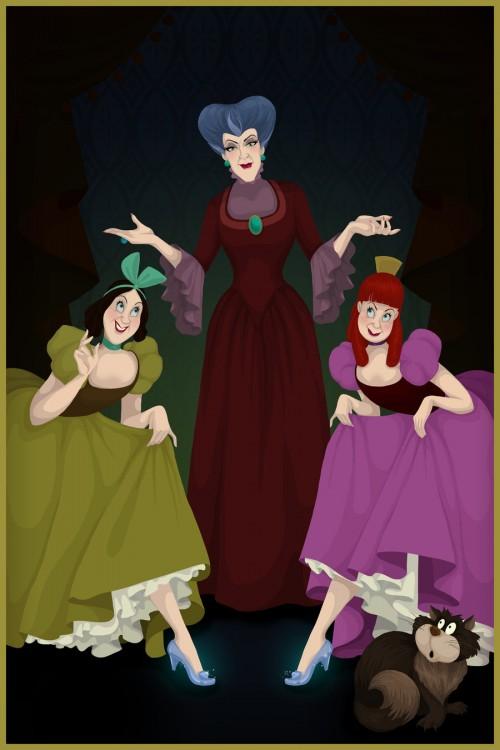 Ilustração do final feliz das meias-irmãs e madrasta filme Cinderella