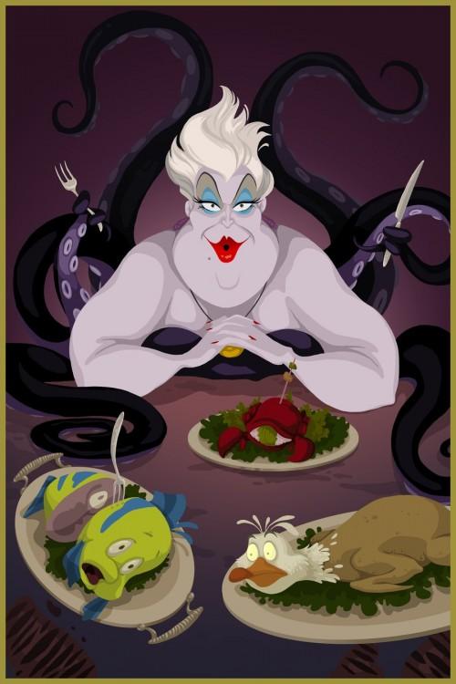 úrsula de la sirenita con Flounder, Sebastián y la gaviota en unos platos de comida
