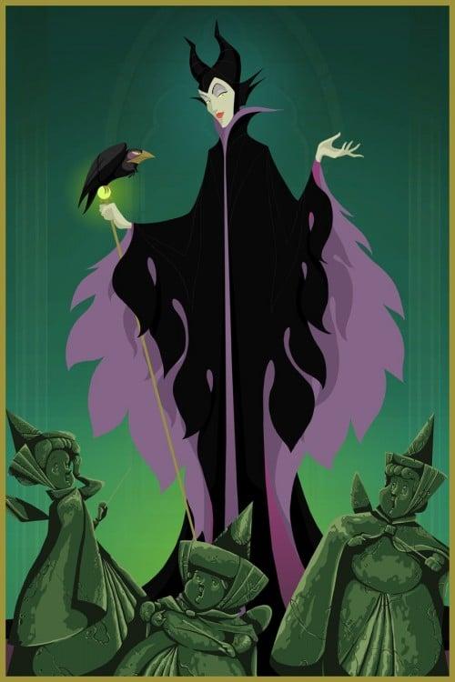 Maleficent em comparação com 3 fadas Aurora transformado em pedra