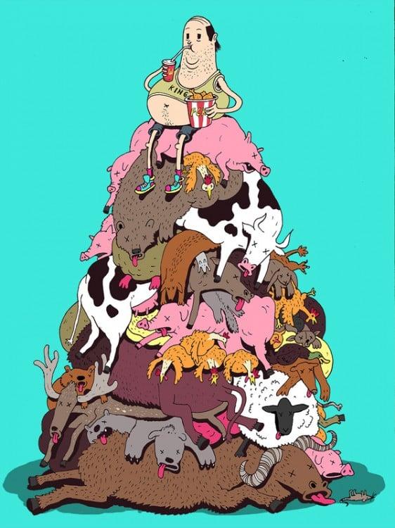 Ilustración de Steve Cutts de una persona sobre los cuerpos amontonados de muchos animales