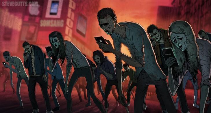 Personas que parecen zombies con celulares en sus manos, ilustración por Steve Cutts