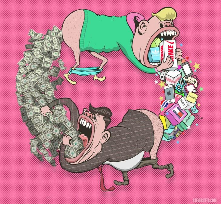 Ilustración del consumismo por Steve Cutts