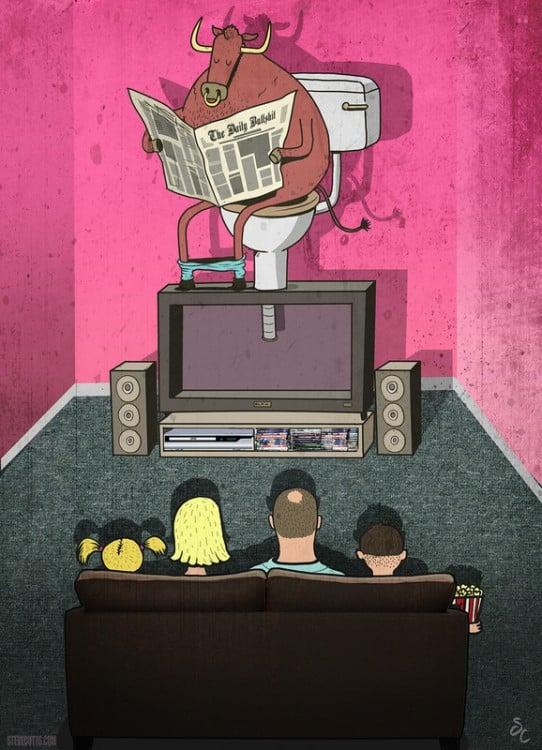Steve Cutts ilustra a una familia mirando la televisión con un toro en la parte superior
