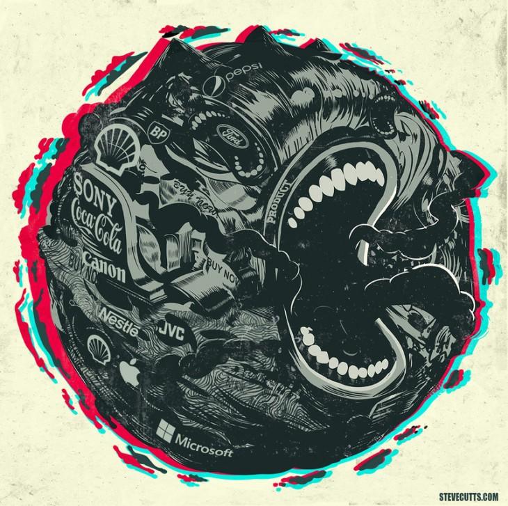 Steve Cutts ilustra un círculo de una boca comiéndose diferentes logos de muchas marcas