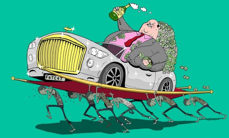 Steve Cutts ilustra un hombre millonario siendo cargado por algunas personas
