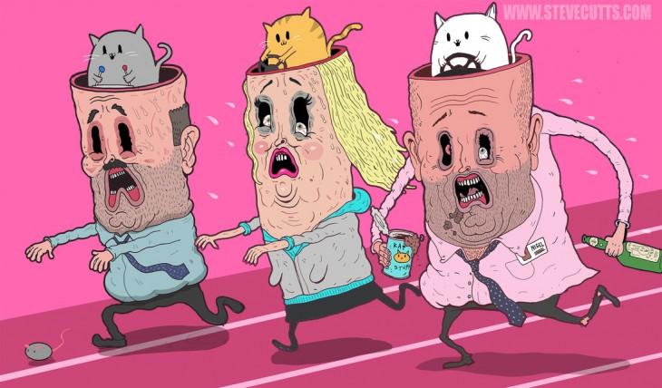 Ilustración de Steve Cutts de dibujos de personas con gatos en sus cerebros