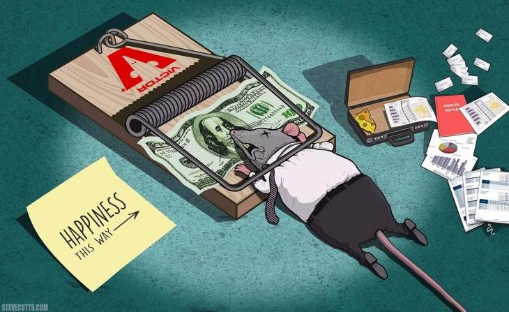 Steve Cutts ilustra una rata muerta sobre una ratonera con un maletín y papeles a su alrededor