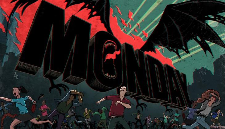 Ilustración de Steve Cutts de la palabra Monday asustando a las personas a su alrededor