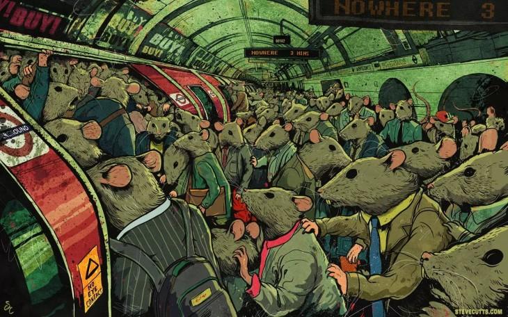 Steve Cutts ilustra muchos ratones subiendo a un metro