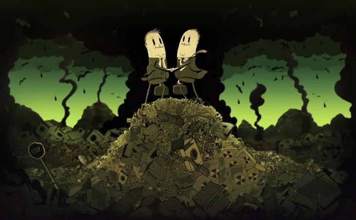 Ilustración de Steve Cutts de dos empresarios sobre una montaña de basura