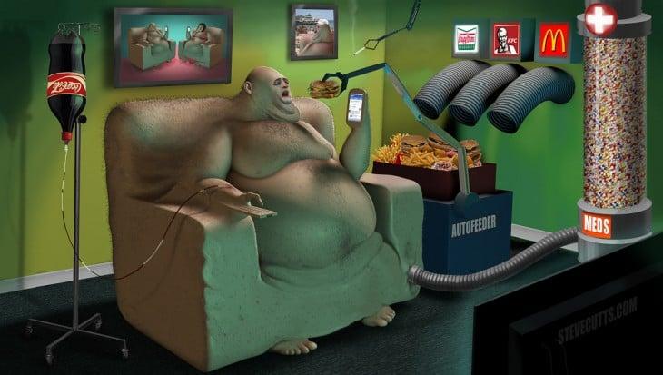 Ilustración de Steve Cutts de una persona sentada en un sillón rodeado de hamburguesas y coca cola