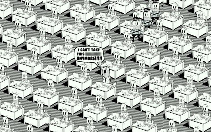 Ilustración de Steve Cutts donde muestra muchas personas detrás de sus escritorios