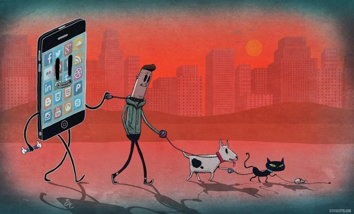 Steve Cutts ilustra un celular llevando con una cadena a una persona
