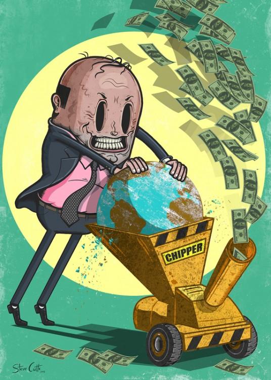 Ilustración por Steve Cutts de una persona metiendo al mundo en una demoledora de basura