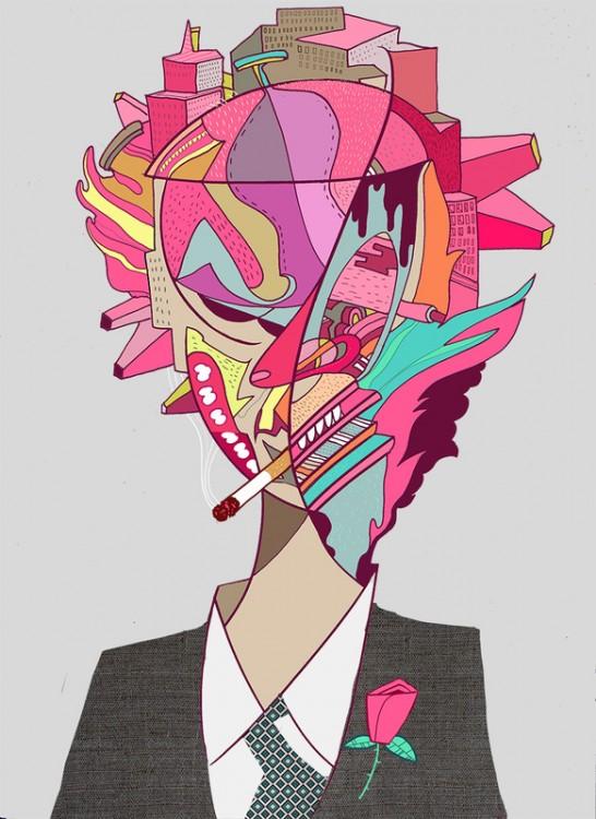 Ilustración de Steve Cutts con el consumismo en su cabeza