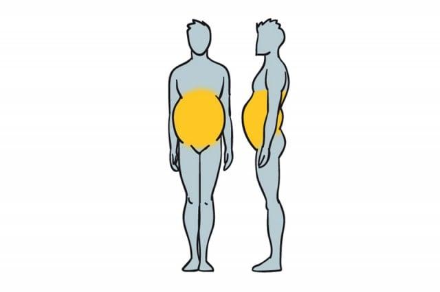 área del cuerpo donde se acumula la grasa en un cuerpo con Obesidad por inactividad