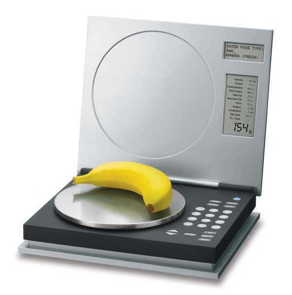 Balanza nutricional que además de pesar lo que pones encima te da información nutricional de los alimentos