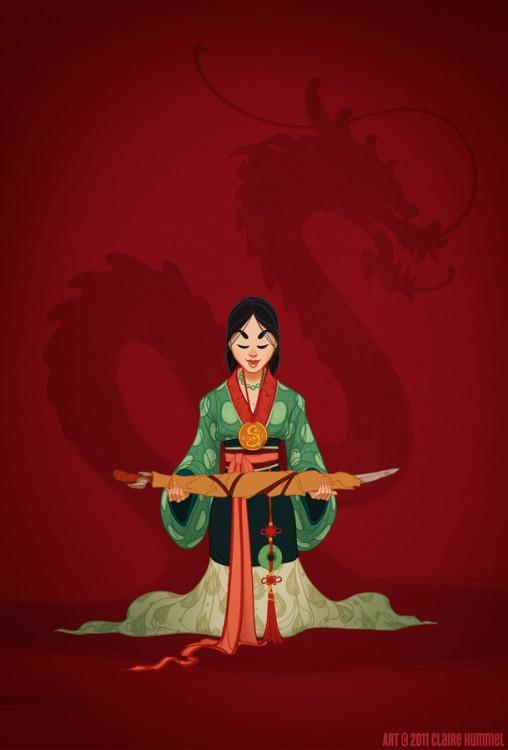 Mulán vestida para el periodo de la Dinastía Ming