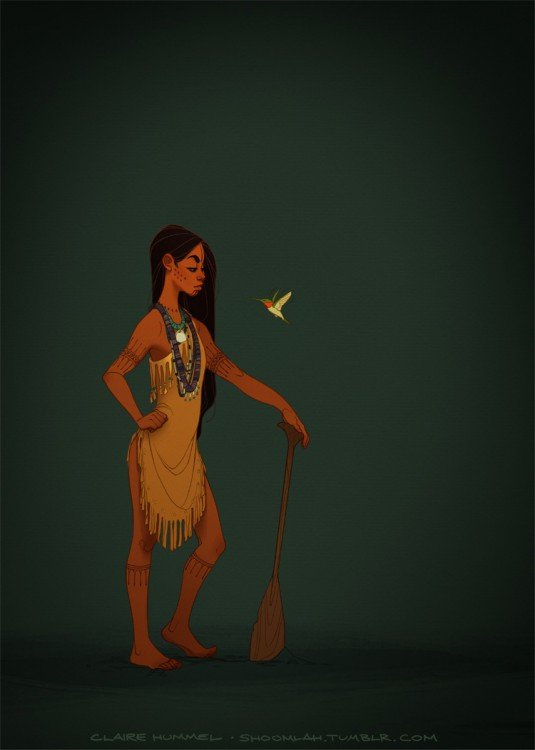Pocahontas con un típico traje del siglo 17 según artista