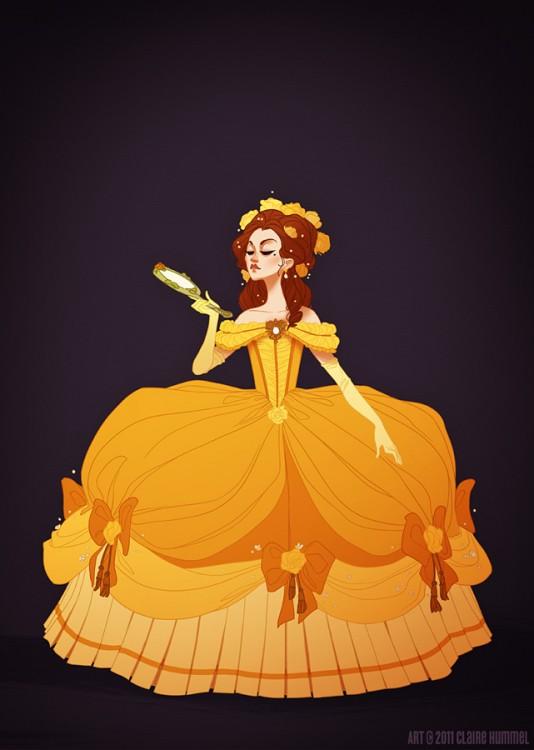 Bella, lista para la corte francesa de 1770 según artista