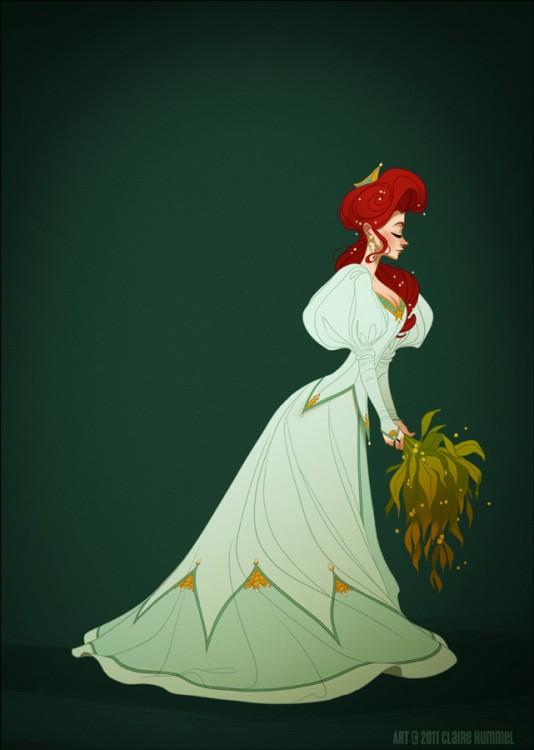 Ariel en un vestido de noche en el año 1890 según artista