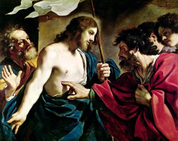 imagen de santo tomas cersiorandose de que sí sea jesús
