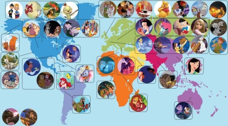 mapa donde se ubican los personajes de disney geograficamentne